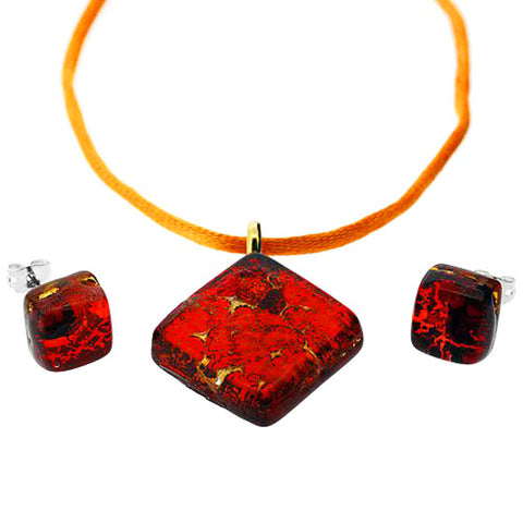 Venetian Murano Glass Red Amber and Gold Pendant and Earrings Jewellery Set