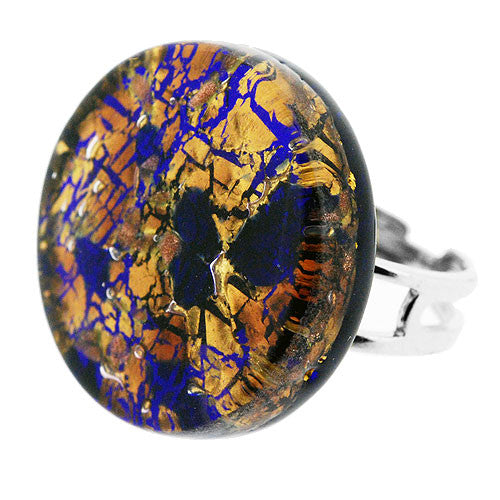 Venetian Murano Glass Royal Blue and Gold Crackle Round Ring
