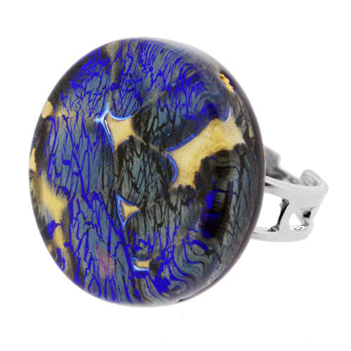Venetian Murano Glass Silver Grey and Gold Marbling Round Ring