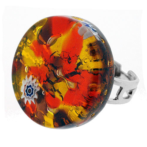 Venetian Murano Glass Glowing Coral and Gold Marbling Round Ring