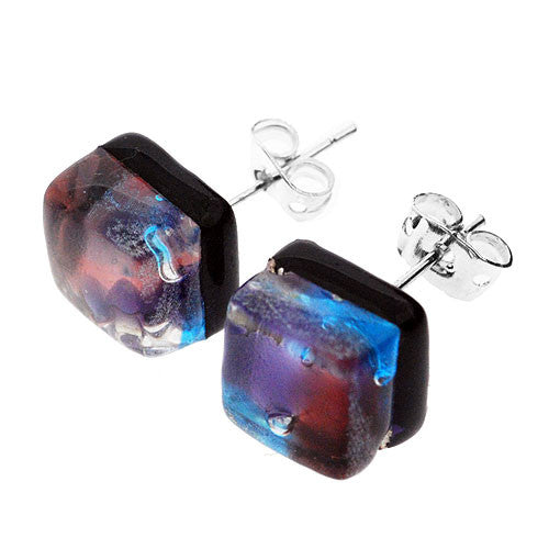 Venetian Murano Glass Turquoise and Pink Square Earring Studs