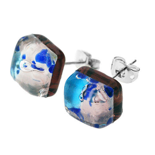 Venetian Murano Glass Silver and Blue Square Earring Studs
