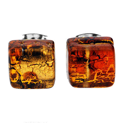 Venetian Murano Glass Amber and Gold Square Earring Studs