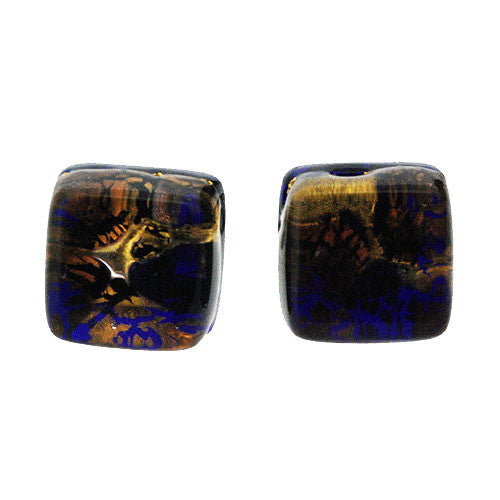 Venetian Murano Royal Blue Amethyst and Gold Crackle Square Earring Studs