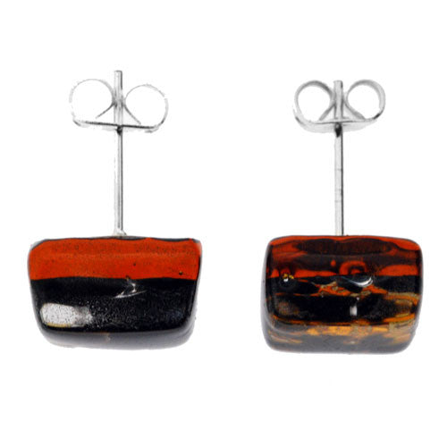 Venetian Murano Black and Gold Square Earring Studs