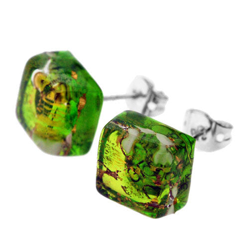 Venetian Murano Green Gold and White Square Earring Studs