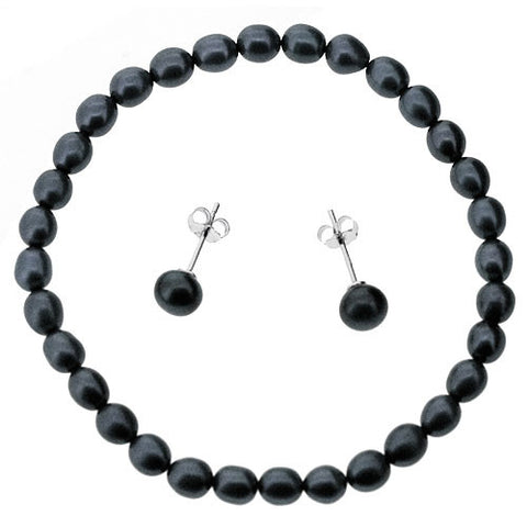 Bracelet and Earrings Jewellery Set in Dark Grey Freshwater Pearls and 925 Sterling Silver
