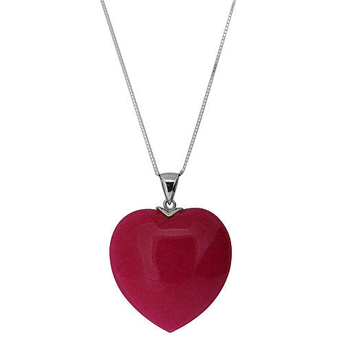 GmcKenzie Signature 925 Sterling Silver Chunky Dark Pink High Polish Heart Pendant Necklace