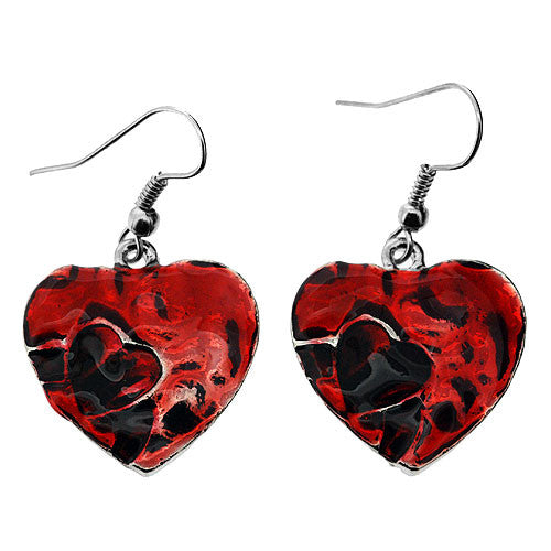 Silver and Scarlet Red Enamelled Heart Drop Earrings and Pendant Necklace Set