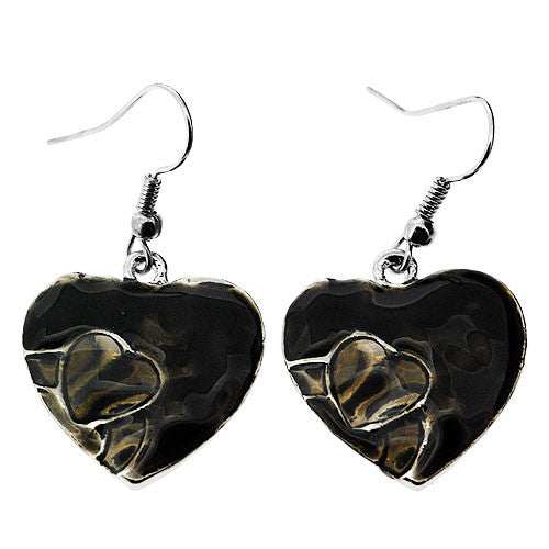 Silver and Black Enamelled Heart Drop Earrings and Pendant Necklace Set
