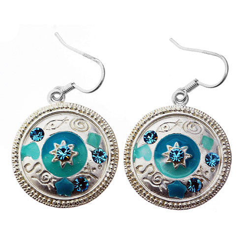 Egyptian Style Silver and Turquoise Enamel and Gemstone Round Drop Earrings