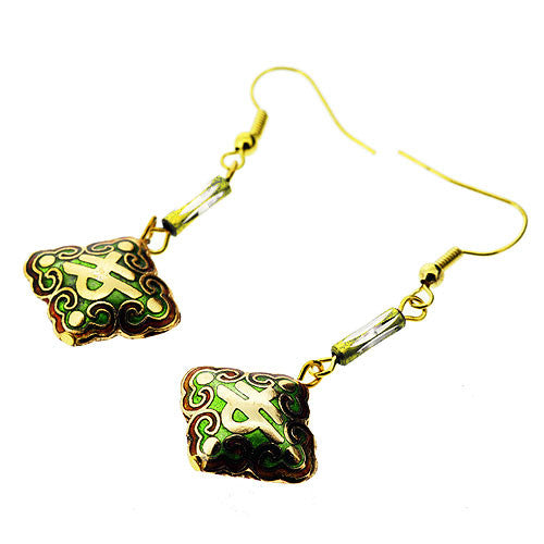 Cloisonne Style Golden and Leaf Green Dangle Drop Earrings
