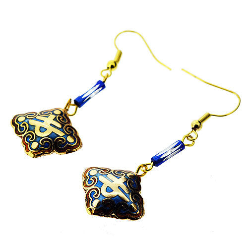 Cloisonne Style Golden and Royal Blue Dangle Drop Earrings