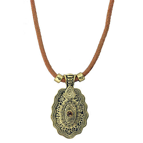Aztec Style Golden Pendant with Gemstone on a Matching Suede Necklace