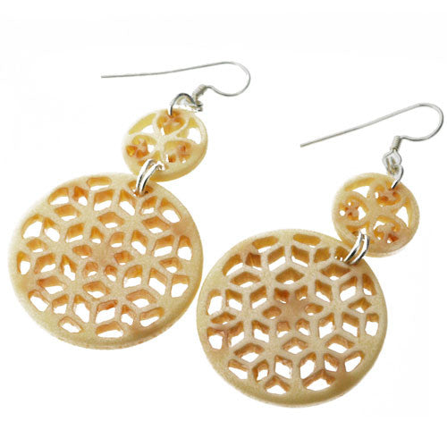 Egyptian Style Carved Effect Door Knocker Drop Earrings in Ivory Colour