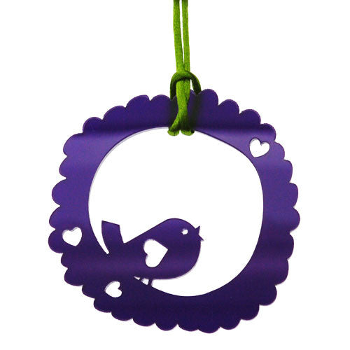 Deep Purple Cute Love Bird and Hearts Pendant Necklace on a Cord