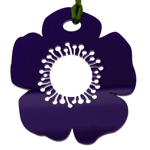 Deep Purple Cut Out Large Poppy Pendant Necklace on a Cord