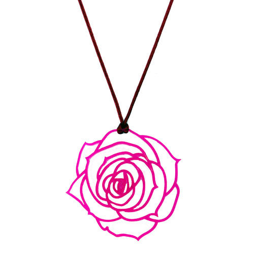 Cerise Pink Filigree Rose Cut Out Large Rose Pendant Necklace on a Cord