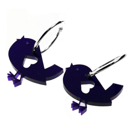 Deep Purple Cut Out Cute Love Birds with Hearts on Silver Hoop Earrings