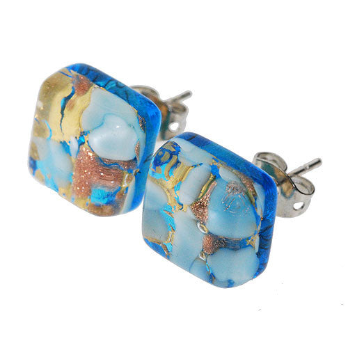 Venetian Murano Turquoise Sparkling Gold and White Square Earring Studs