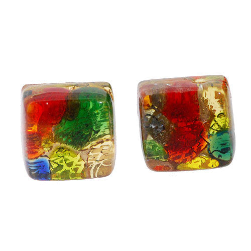 Venetian Murano Multicolour and Gold Square Earring Studs