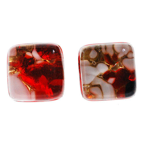 Venetian Murano Red White and Gold Square Earring Studs  Th