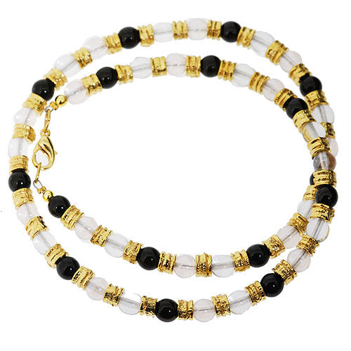 Venetian Murano Glass Silver Black and Gold Bead Necklace