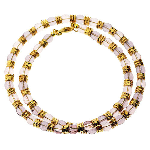 Venetian Murano Glass Light Pink and Gold Bead Necklace