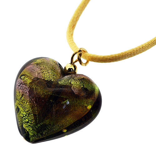 Venetian Murano Glass Lime and Silver Swirl Chubby Heart Pendant Necklace