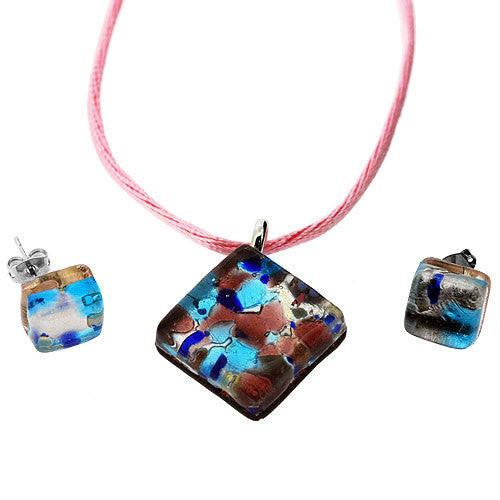 Venetian Murano Glass Turquoise Pink and Silver Pendant and Earrings Jewellery Set