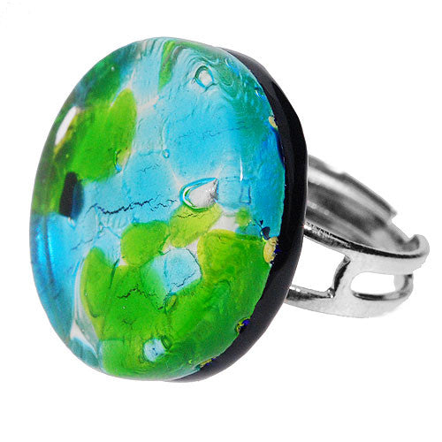 Venetian Murano Glass Turquoise Lime and Silver Marbling Round Ring