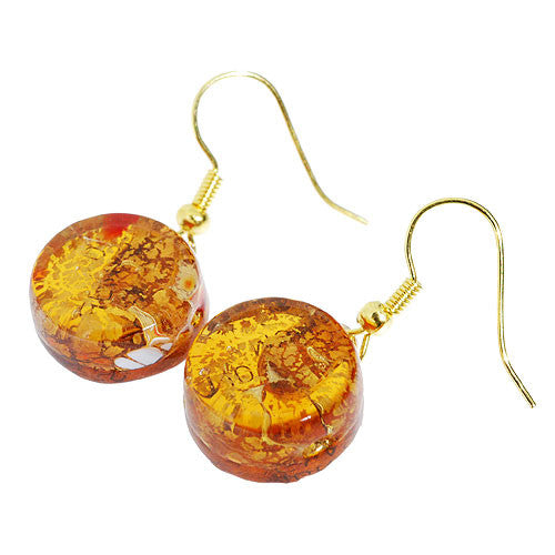 Venetian Murano Glass Amber and Gold Crackle Drop Earrings