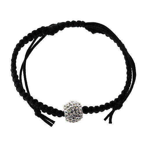 Shamballa 925 Sterling Silver and White Crystal Bead Bracelet