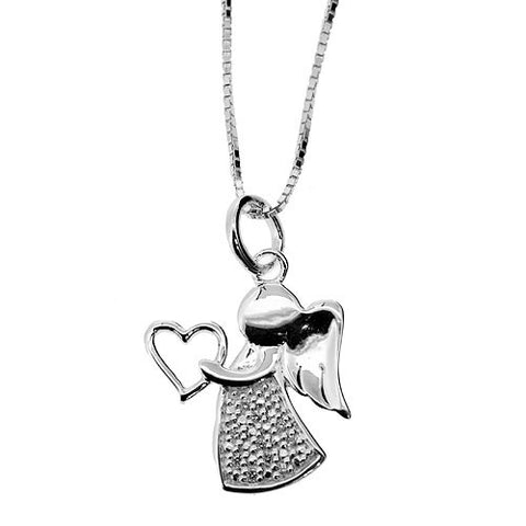 925 Sterling Silver Angel Holding Your Heart Pendant Necklace