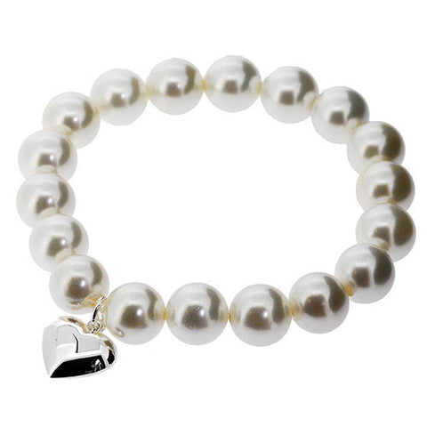 June Birthstone Sterling Silver Heart Bracelet in White Pearls