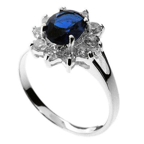 The William and Kate Ring in 925 Sterling Silver and Sapphire Blue and White Stones