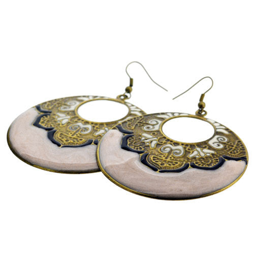 Indian Style 6 Centimetre Pale Pink and Cream Enamelled Door Knocker Drop Earrings