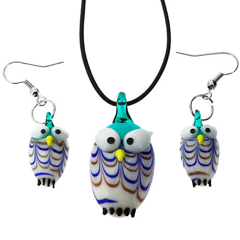 Owl Pendant and Earrings Jewellery Set in Handcrafted Lampwork Glass