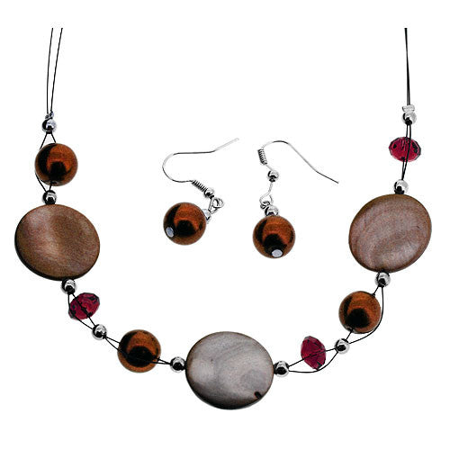 Bronze and Amber Bead Jewellery Set of Earrings and Necklace