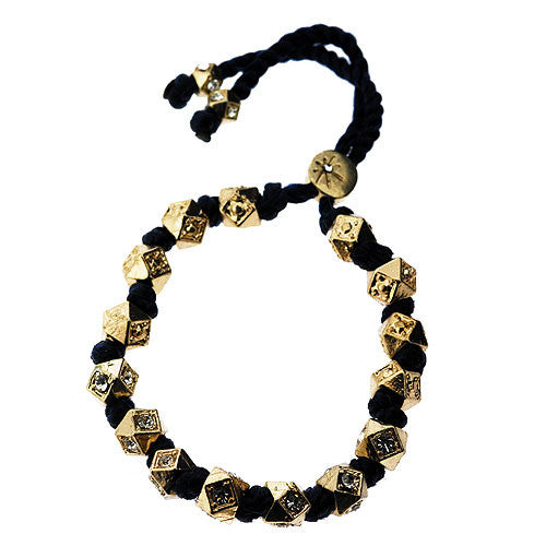 Black and Sparkling Octagon Chinese Bead Bracelet