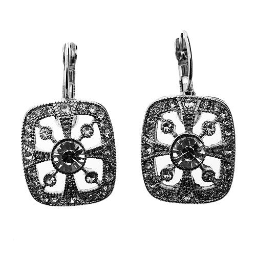 Pave Silver and White Crystal Sparkling Cocktail Drop Earrings