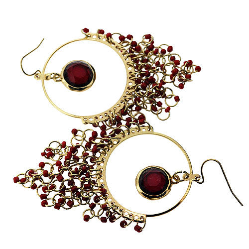 Indian Style Large Earrings with Ruby Red Seed Beads