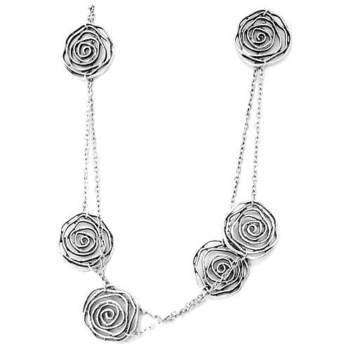 Filigree Rose Blossom Jewellery Set of Necklace and Drop Earrings