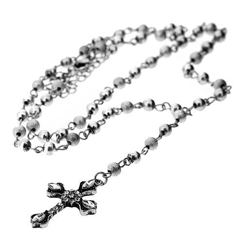 Long Silver Sanding Bead and White Jewel Cross Necklace