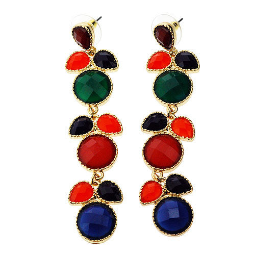Long and Colourful Fruits and Leaves Multicolour Drop Earrings