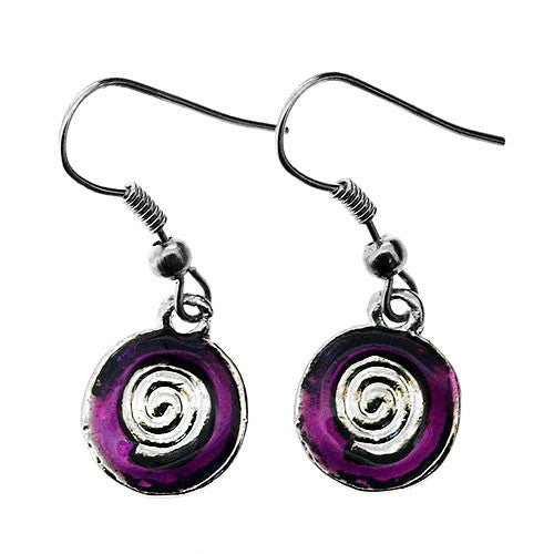 Silver and Violet Purple Enamelled Round Drop Earrings and Pendant Necklace Set
