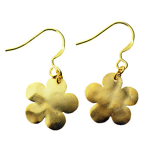 925 Sterling Silver  and 14 K Gold Washed Moroccan Style Flower Drop Earrings