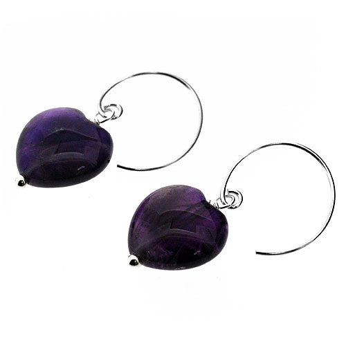 February Birthstone Natural Amethyst and Sterling Silver Heart Earrings