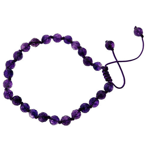 February Birthstone Handcrafted Natural Amethyst Faceted Bead Adjustable Bracelet