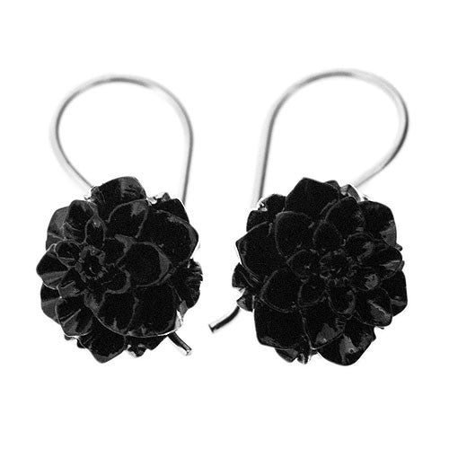 Black Bakelite Blossom Hook 925 Sterling Silver Earrings